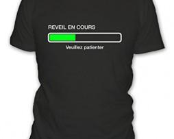 T-shirt-humour-geek-En-cours-de-reveil-veuillez-patienter-Manches-courtes-Homme-0